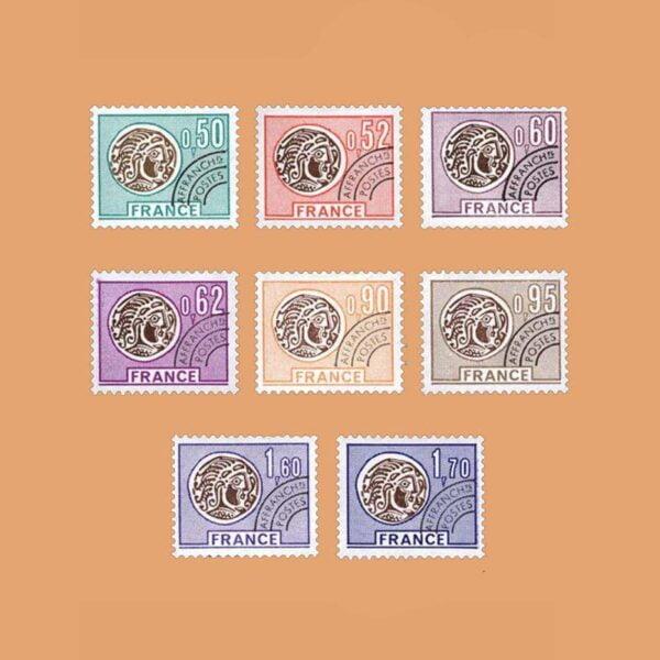 1976 Francia Serie 138/45 Preobliterados. Monedas galas