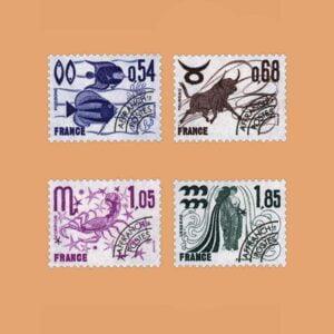 1977 Francia Serie 146/9 Preobliterados. Signos del Zodiaco