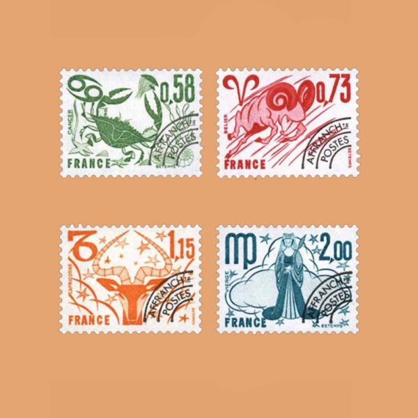 1978 Francia Serie 150/3 Preobliterados. Signos del Zodiaco