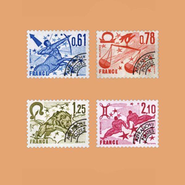 1978 Francia Serie 154/7 Preobliterados. Signos del Zodiaco