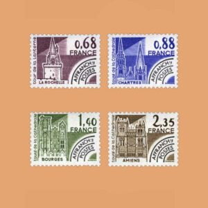 1979 Francia Serie 162/5 Preobliterados. Monumentos Históricos