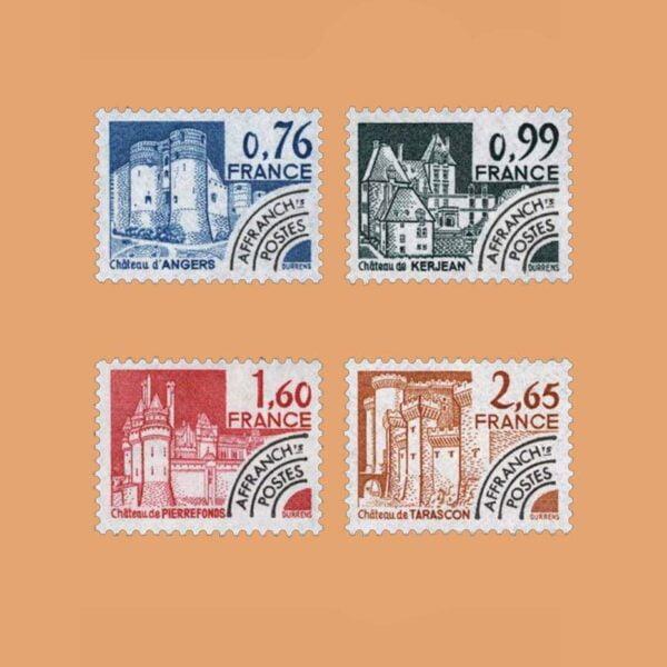 1980 Francia Serie 166/9 Preobliterados. Monumentos Históricos