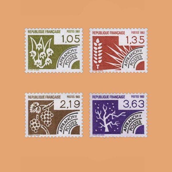 1983 Francia Serie 178/81 Preobliterados. Las Cuatro Estaciones