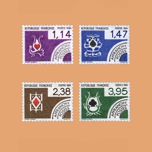 1984 Francia Serie 182/5 Preobliterados. Naipes