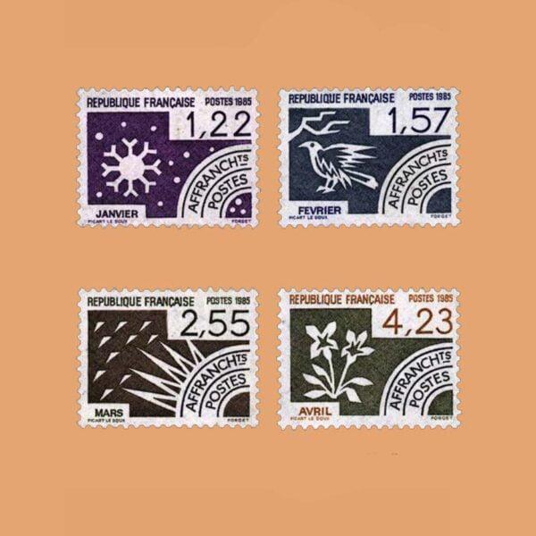 1985 Francia Serie 186/9 Preobliterados. Los Meses del Año