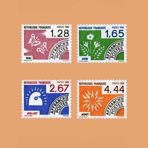1986 Francia Serie 190/3 Preobliterados. Los Meses del Año