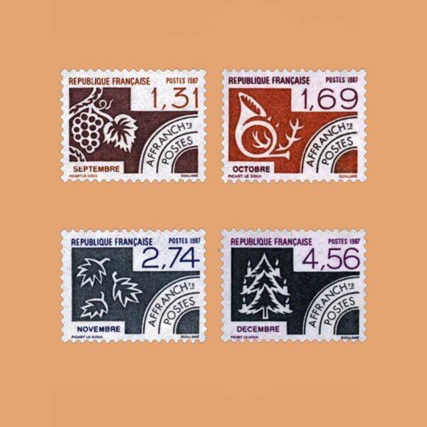 1987 Francia Serie 194/7 Preobliterados. Los Meses del Año