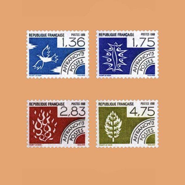 1988 Francia Serie 198/201 Preobliterados. Los Cuatro Elementos