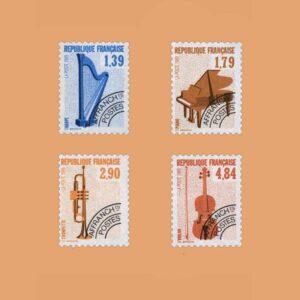 1989 Francia Serie 202/5 Preobliterados. Instrumentos Musicales
