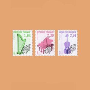 1990 Francia Serie 210/2 Preobliterados. Instrumentos Musicales