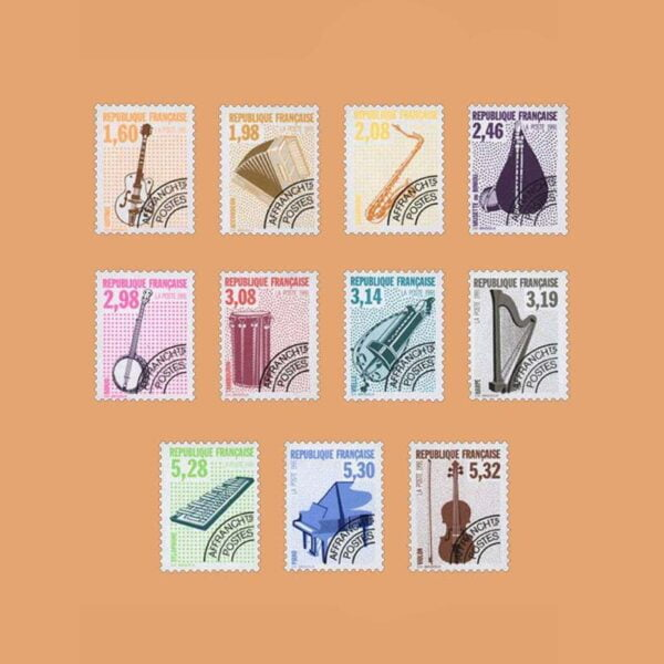 1992 Francia Serie 213/23 Preobliterados. Instrumentos Musicales