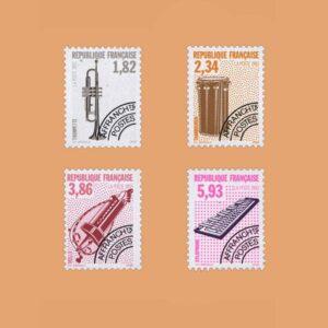 1993 Francia Serie 228/31 Preobliterados. Instrumentos Musicales