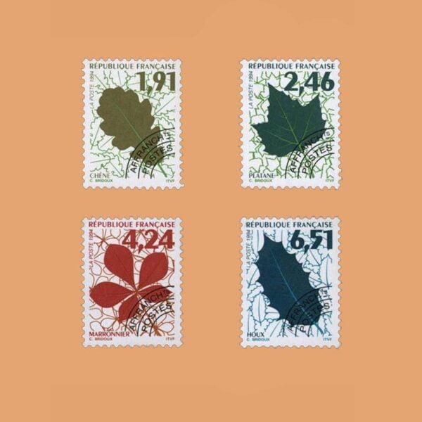 1994 Francia Serie 232/5 Preobliterados. Hojas de Arbol
