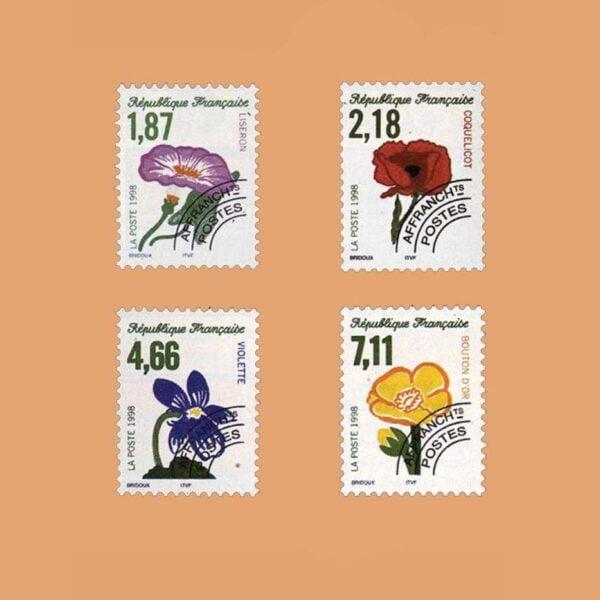 1998 Francia Serie 240/3 Preobliterados. Flores Salvajes