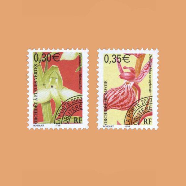 2003 Francia Serie 246/7 Preobliterados. Orquideas
