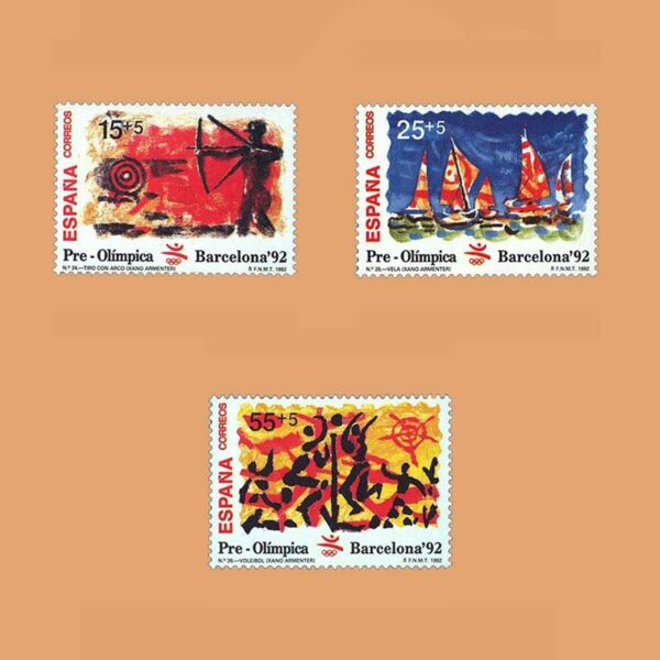 Edifil 3157/9. Serie Barcelona'92. VIII Serie Pre-Olímpica **1992