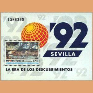 Edifil 3191. Hoja Exposición Universal Sevilla **1992