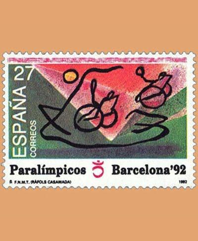 Edifil 3192. Juegos Paralímpicos. Sello de 27 pts. **1992