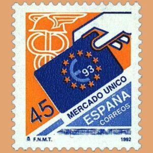 Edifil 3226. Mercado Único Europeo. Sello de 45 pts. **1992