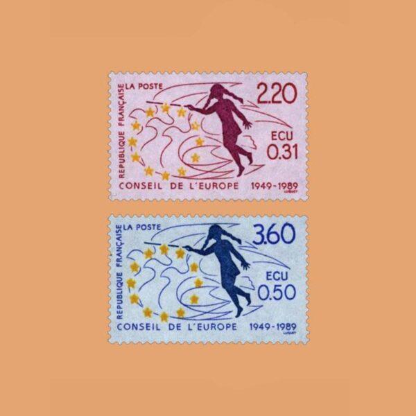 1989 Francia Serie 100/1 Service. Consejo de Europa