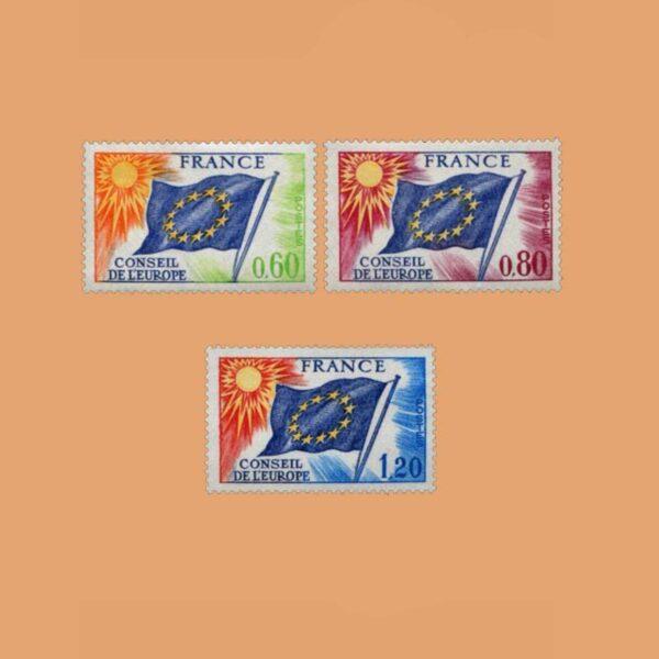 1975 Francia Serie 46/8 Service. Bandera del Consejo de Europa