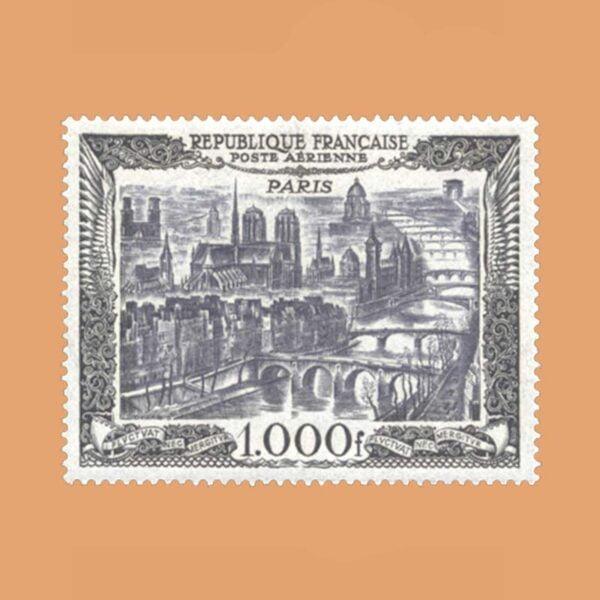 1950 Francia 29 Aéreo. 1000 Francs Noir Vue de Paris Luxe