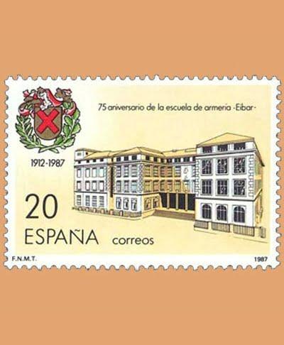Edifil 2907. 75º Aniversario de la Fundación de la Escuela de Armería de Eibar. Sello de 20 pts. **1987