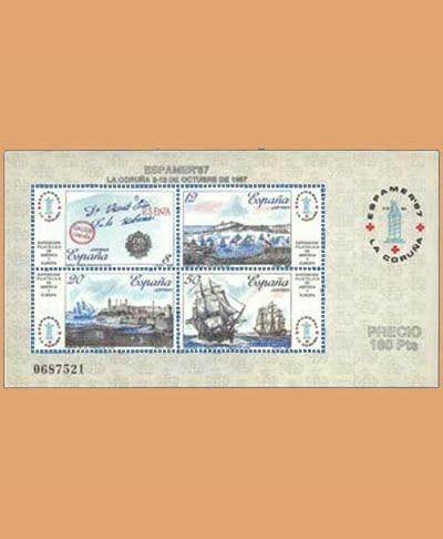 Edifil 2916. Hoja ESPAMER. Exposición Filatélica de España y América **1987