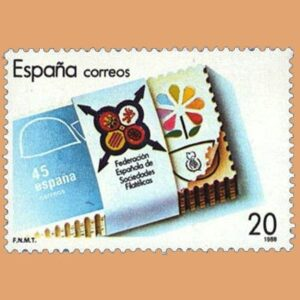 Edifil 2962. XXV Aniversario de la Federación Española de Sociedades Filatélicas. FESOFI. Sello de 20 pts. **1988