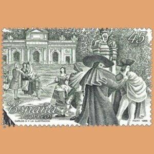 Edifil 2983. Carlos III y la ilustración. Sello de 45 pts. **1988