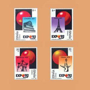 Edifil 2990/3. Serie Exposión Universal de Sevilla. **1989