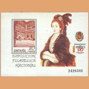 Edifil 3068. Hoja Exposición fillatélica Nacional. EXFILNA **1990