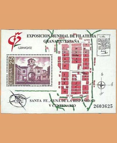 Edifil 3109. Hoja Granada'92. V Centenario de la Fundación de Santa Fe **1991