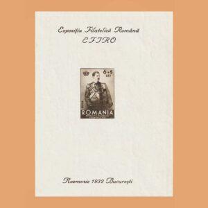 Rumanía BF1. Hoja Bloque Expo Filatélica 1932