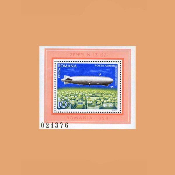 Rumanía BF132. Hoja Zeppelin LZ 127 **1978