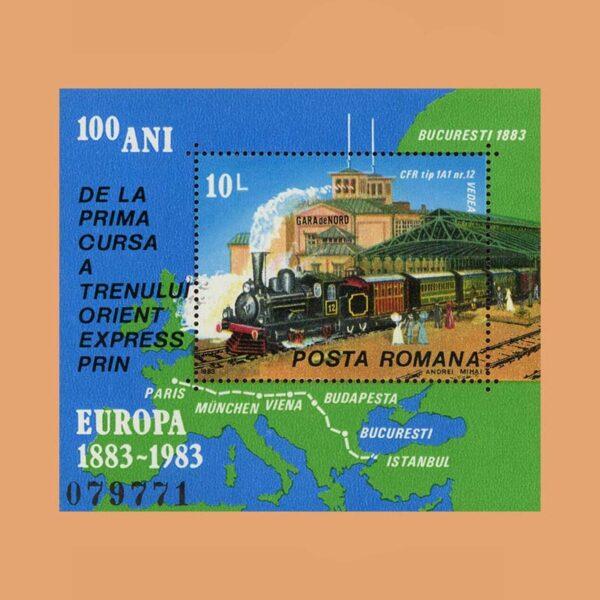 Rumanía BF163. Hoja Centenario del Orient Express **1983