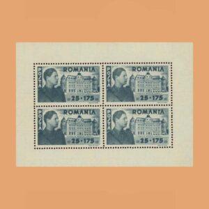 Rumanía BF18. Hoja Fundación Carol I. (*)1945