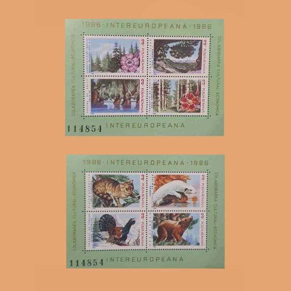 Rumanía BF181/2. Hojas Colaboración Intereuropea **1986