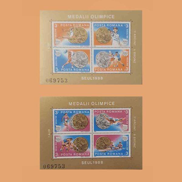 Rumanía BF199/200. Hojas JJ.OO. Seul **1988