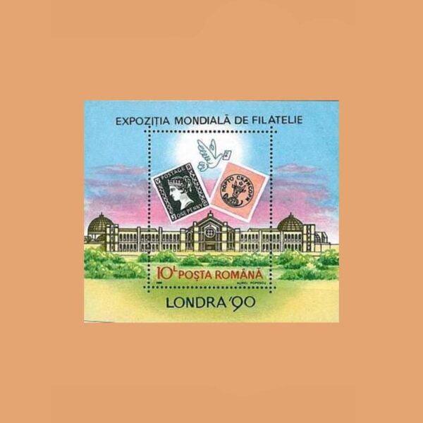 Rumanía BF208. Hoja Exposición Filatélica Londres **1990