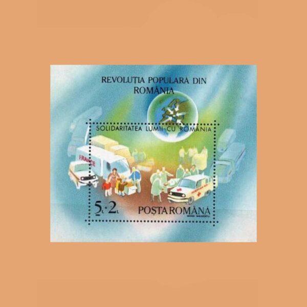 Rumanía BF209. Hoja Aniversario del Levantamiento Popular **1990