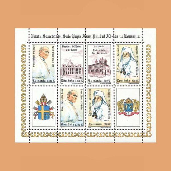 Rumanía BF251. Hoja Visita de Juan Pablo II a Rumanía **1999