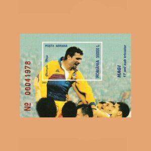 Rumanía BF257. Hoja Homenaje a Hagi **2001