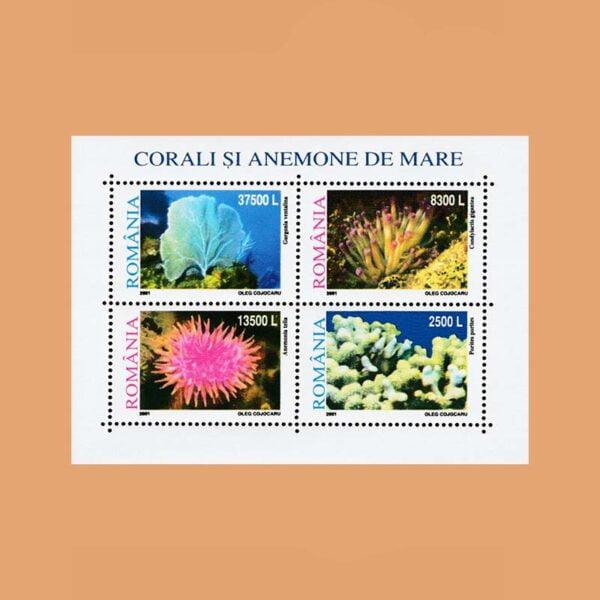 Rumanía BF258. Hoja Corales y Anémonas **2001