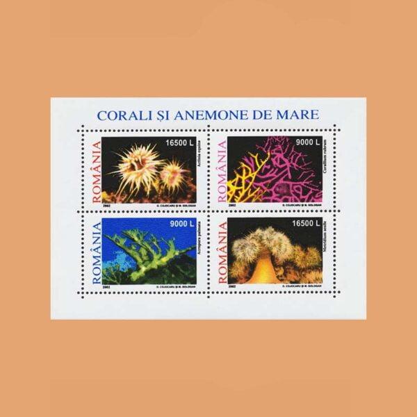 Rumanía BF259. Hoja Corales y Anémonas **2001