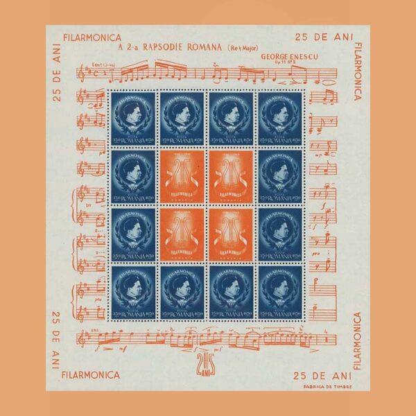 Rumanía BF29. Hoja 25 años de la Filarmónica. George Enescu. **1946