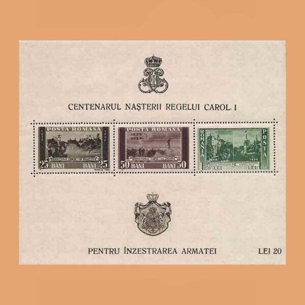 Rumanía BF3. Centenario del nacimiento de Carol I. **1939