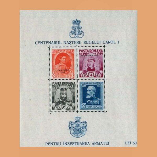 Rumanía BF4. Hoja Centenario de Carol I. 1939