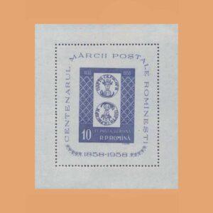Rumanía BF41. Hoja 100 Aniversario del sello rumano **1958