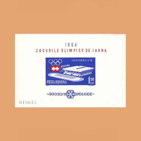Rumanía BF56. Hoja Juegos Olímpicos de Invierno. Innsbruck **1963